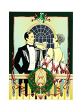 Glamorous 1920s Man and Woman Drinking Cocktails at Christmas Poster by David Chestnutt