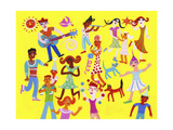 People Enjoying Playing Music and Dancing at Outdoor Party Posters af Chris Corr