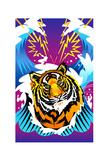 Tiger on Sea Waves Prints by David Chestnutt