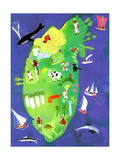 Overhead View of Island in Sea Posters by Chris Corr
