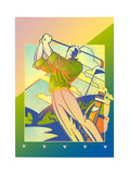 Golf Player Making a Swing with Golf Club Posters by David Chestnutt