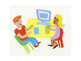 Office Workers Discussing Business Sitting at Desk Prints by Chris Corr