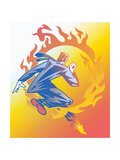 Businessman Jumping Through Ring of Fire Prints by David Chestnutt
