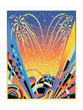 Fireworks Display with Abstract Pattern Posters by David Chestnutt