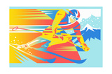 Close Up of Man Skiing Downhill Art by David Chestnutt