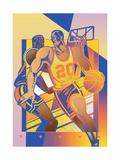 Men Playing Basketball Print by David Chestnutt