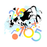 Cow Surrounded by Multicolored Numbers Posters by David Chestnutt