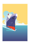 Luxury Cruise Ship Sailing in Tranquil Ocean Prints by David Chestnutt