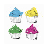 Four Brightly Colored Cupcakes Prints by Ben Tallon