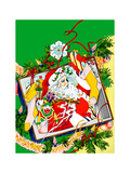 Santa Claus Holding Various Gifts in Old Tv Posters by David Chestnutt