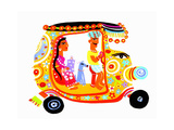 Man Driving Woman and Dog in Ornate Auto Rickshaw Posters by Chris Corr