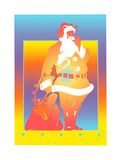 Santa Claus with Sack on Colored Background Print by David Chestnutt