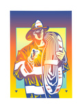Fireman with Hose Against Colored Background Art by David Chestnutt