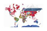 Watercolor Map of the World and National Flags Plakater av Jennifer Maravillas