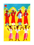 Women in Traditional Costumes Dancing to Music of Life Band Prints by Chris Corr