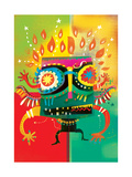 Carnival Mask in Flame and Sparks Posters by Lee Hodges