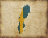 Map with Flag Overlay Sweden Prints by  Color Me Happy
