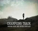 Champions Train Woman Black and White Kunstdrucke von  Sports Mania