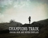Champions Train Woman Black and White Poster by  Sports Mania