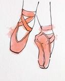 Ballet Shoes En Pointe Orange Watercolor Part II Print by  Color Me Happy