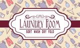 Laundry Room Sign Yellow Pattern Poster by  Color Me Happy