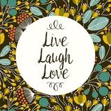 Live Laugh Love Retro Floral Black Posters by  Color Me Happy
