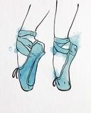 Ballet Shoes En Pointe Blue Watercolor Part I Poster by  Color Me Happy
