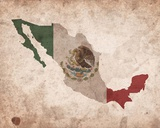 Map with Flag Overlay Mexico Posters by  Color Me Happy