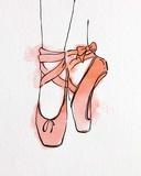 Ballet Shoes En Pointe Orange Watercolor Part III Prints by  Color Me Happy