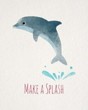Make a Splash Dolphin White Posters by  Color Me Happy