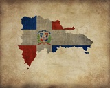 Map with Flag Overlay Dominican Republic Prints by  Take Me Away