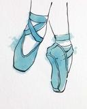 Ballet Shoes En Pointe Blue Watercolor Part II Print by  Color Me Happy