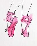 Ballet Shoes En Pointe Pink Watercolor Part I Prints by  Color Me Happy