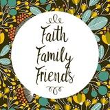 Faith Family Friends Retro Floral Black Print by  Color Me Happy