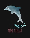 Make a Splash Dolphin Black Poster by  Color Me Happy