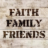 Faith, Family, Friends In Wood Prints by  Color Me Happy