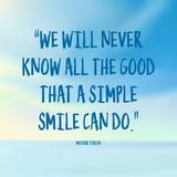 Simple Smile - Mother Teresa Quote (Blue) Lámina por  Quote Master