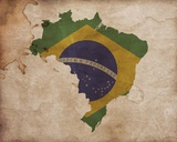 Map with Flag Overlay Brazil Posters by  Color Me Happy
