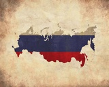 Map with Flag Overlay Russia Posters by  Color Me Happy