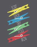Sort Wash Dry Fold Clothespins Primary Colors Posters by  Color Me Happy