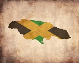 Map with Flag Overlay Jamaica Posters by  Color Me Happy