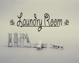Laundry Room Sign Clothespins Black and White Posters by  Color Me Happy