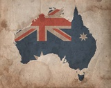 Map with Flag Overlay Australia Prints by  Color Me Happy