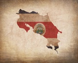 Map with Flag Overlay Costa Rica Prints by  Color Me Happy