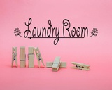 Laundry Room Sign Clothespins Pink Background Print by  Color Me Happy
