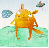 Alien Friend Number 4 Stretched Canvas Print by Skip Teller