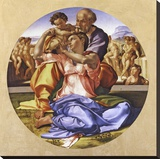 Doni Tondo Stretched Canvas Print by  Michelangelo