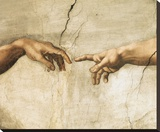 Creation of Adam (detail) Stretched Canvas Print by  Michelangelo