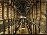 Interior of the Library, Trinity College, Dublin Stretched Canvas Print by  Anonymous
