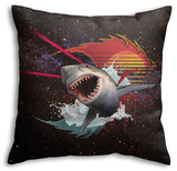 Vicious Laser Shark in Space Throw Pillow Throw Pillow